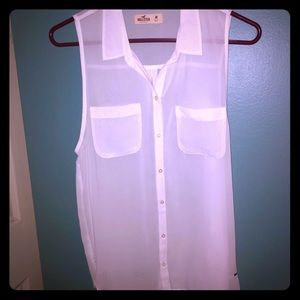 Hollister sheer button down sleeveless top